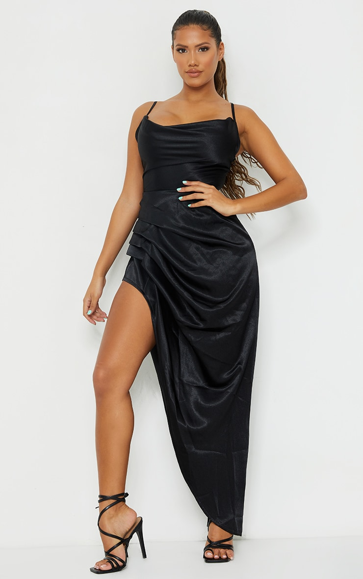 Shape Black Satin Cowl Side Split Ruched Maxi Dress 1