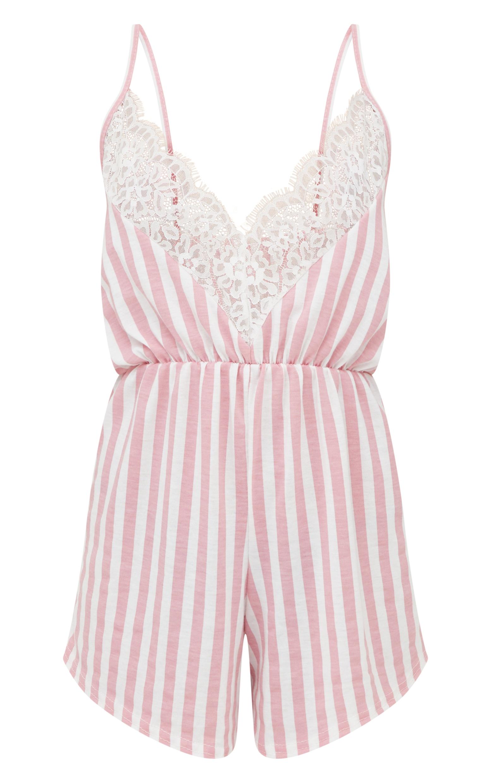 Pyjashort en jersey à détail en dentelle et rayures rose 3