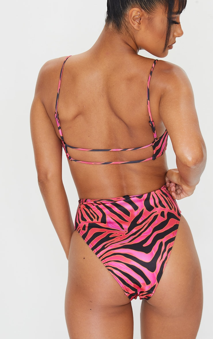 Hot Pink Zebra Print High Waist High Leg Bikini Bottom 3