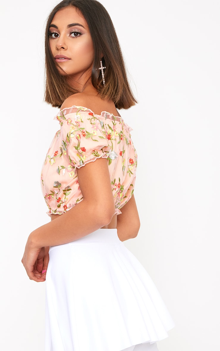 Nude Embroidered Bardot Crop Top 2