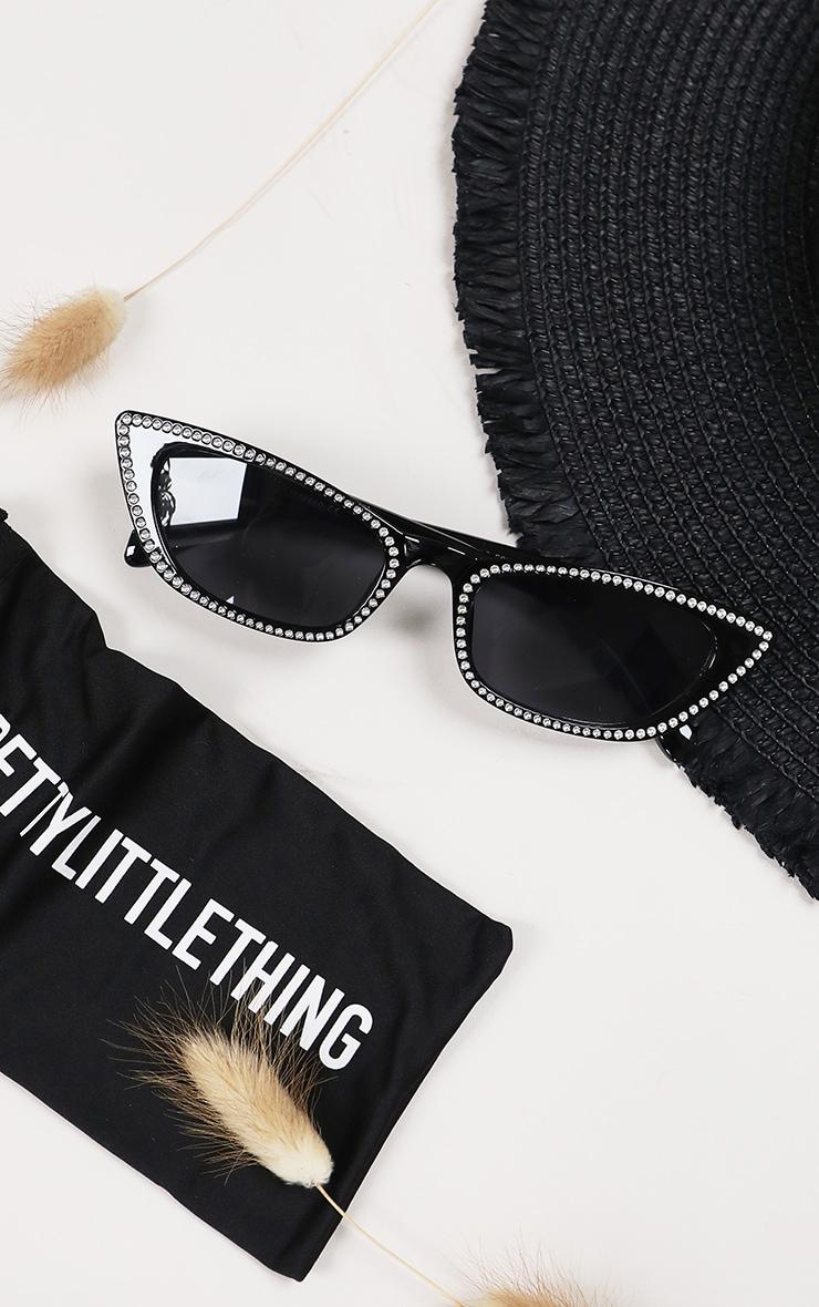 Black Diamante Trim Cat Eye Sunglasses 1