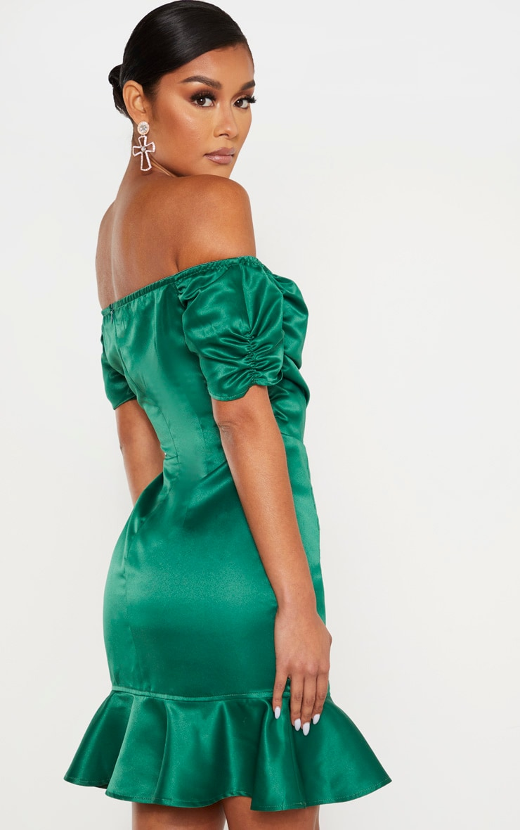 Emerald Green Bonded Satin Bardot Wrap Front Bodycon Dress 2