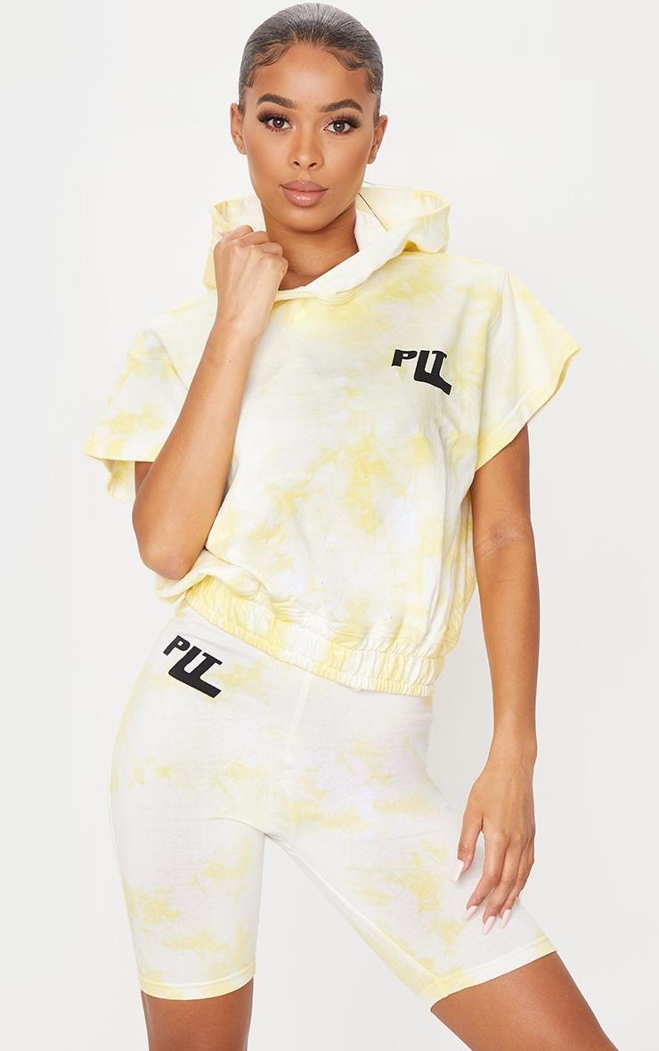 PRETTYLITTLETHING Yellow Tie Dye Short Sleeve Cropped Hoodie 1