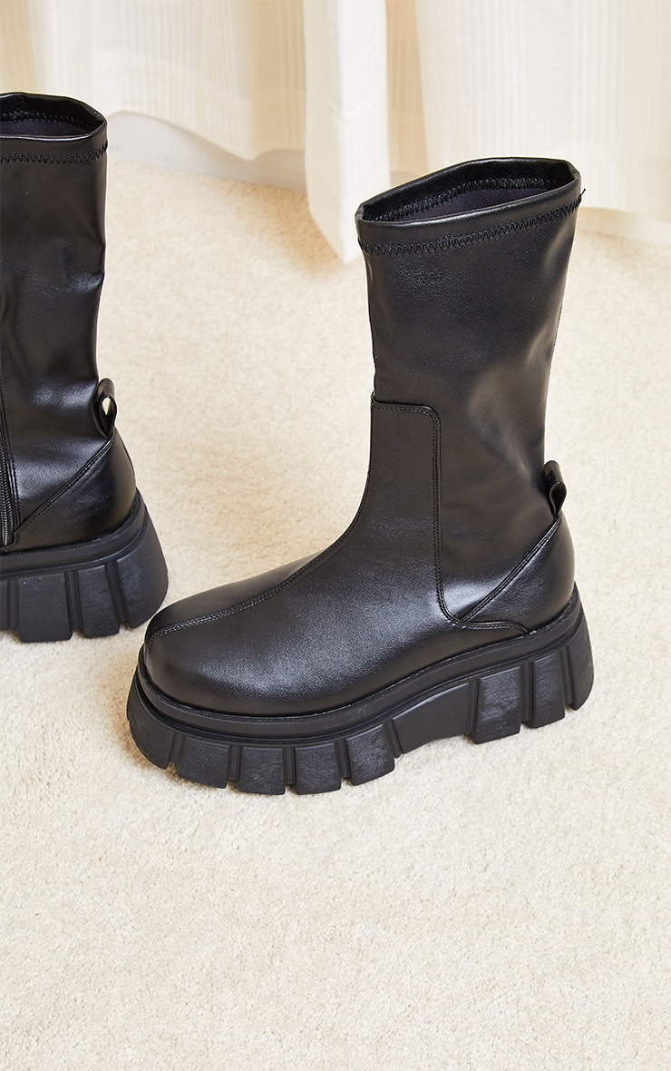 Black Large Cleat Extra Chunky Sole PU Sock Boots 4