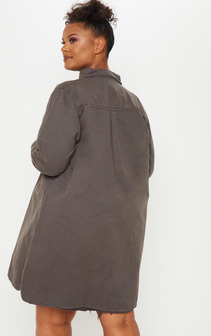 Plus Charcoal Oversized Denim Shirt Dress 2