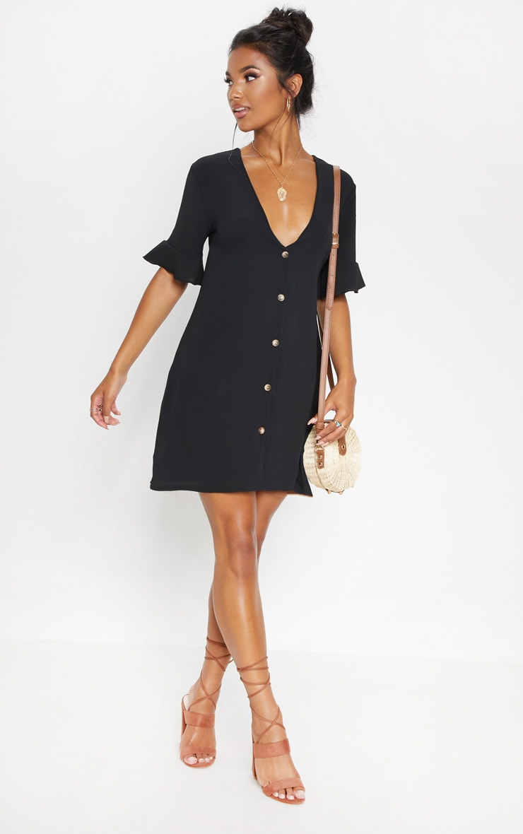 Black Oversized Button Front Shirt Dress