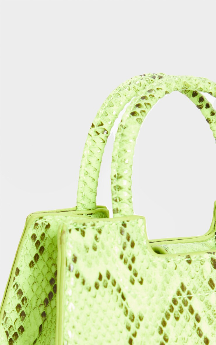 Mini-sac trapèze imitation croco vert fluo 4