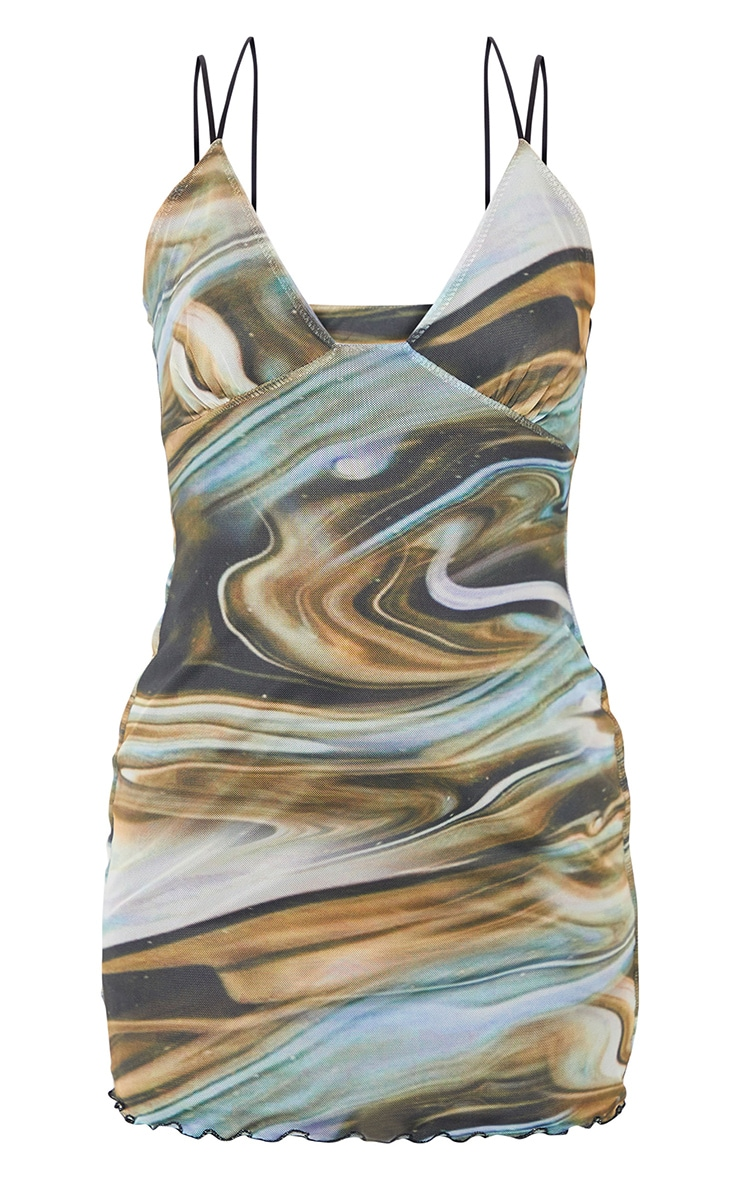 Beige Marble Print Mesh Cup Detail Bodycon Dress 5