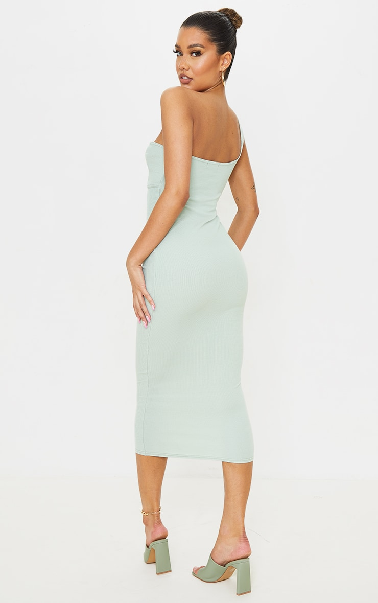 Sage Green Ribbed One Shoulder Underbust Detail Midaxi Dress 2