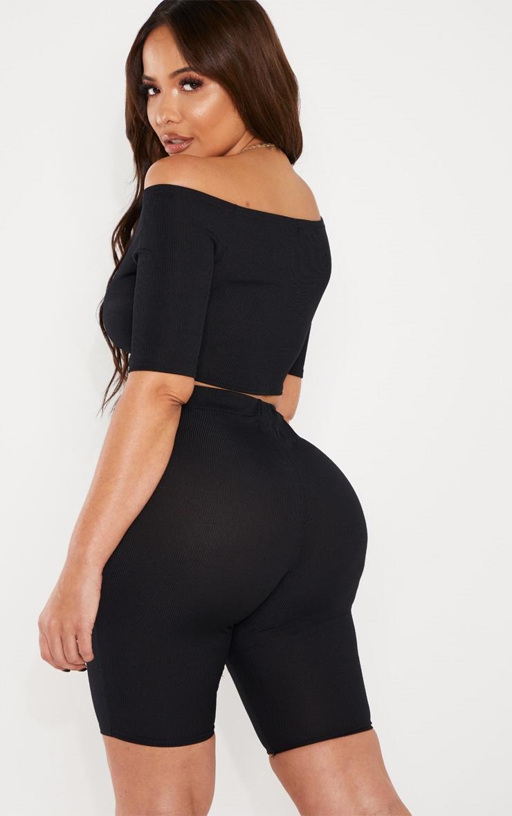 Shape Black Short Sleeve Ribbed Bardot Crop Top 2