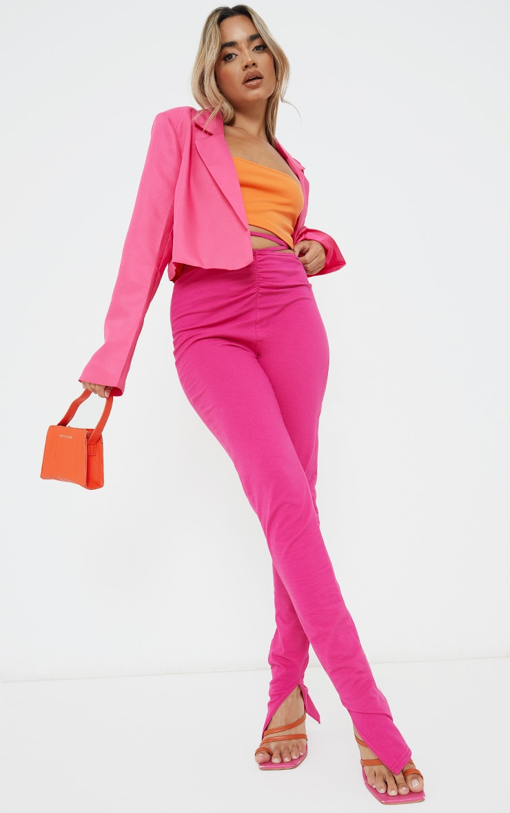 Petite Pink Ruched Waist Wrap Around Split Hem Leggings 1