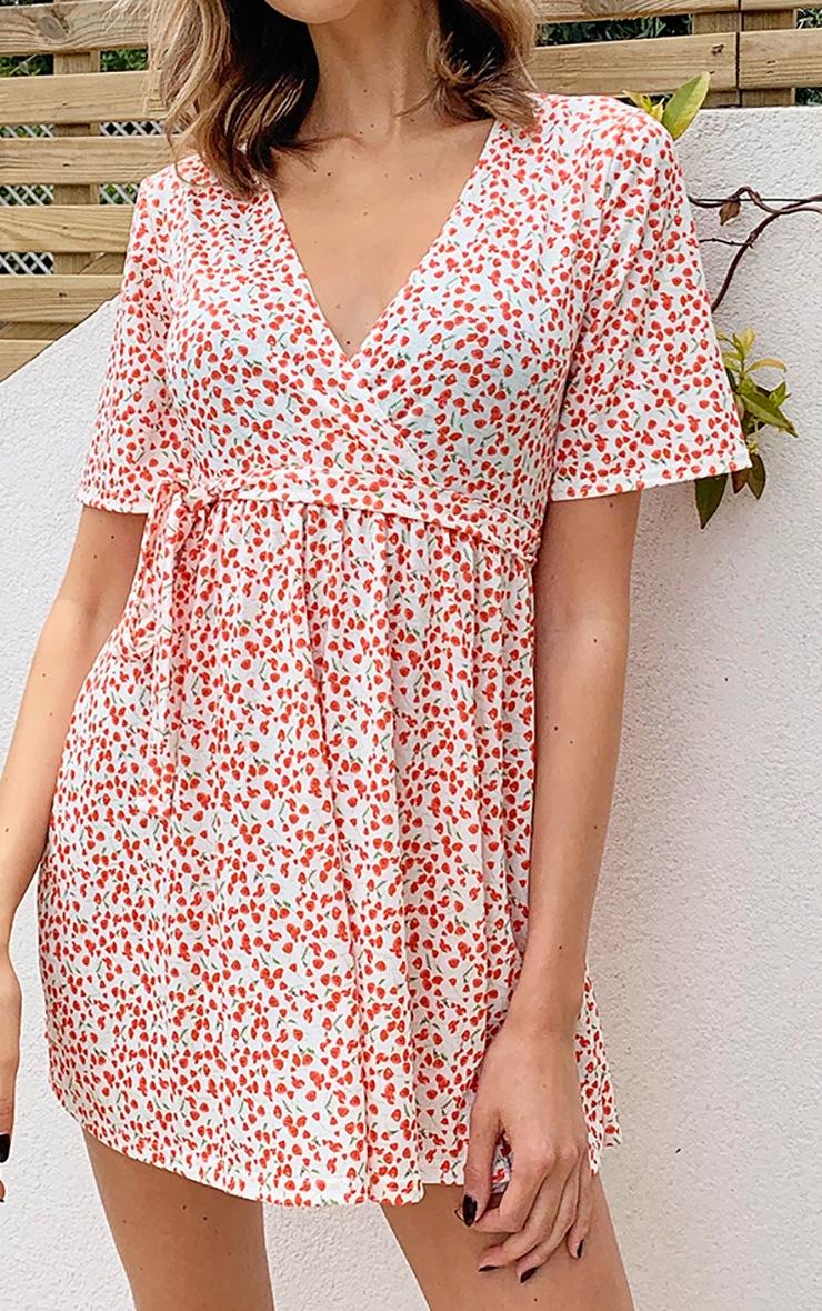 Cream Ditsy Floral Wrap Tea Dress 4
