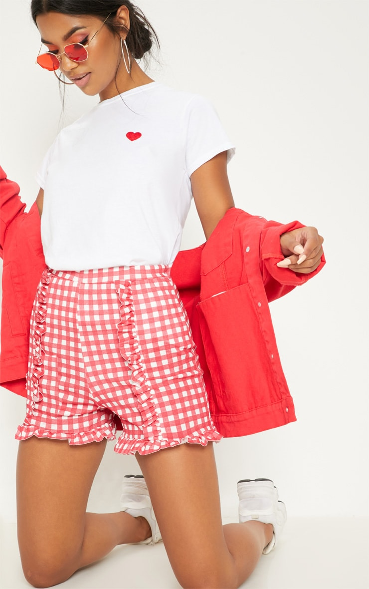 Red Gingham Check Frill Short  1