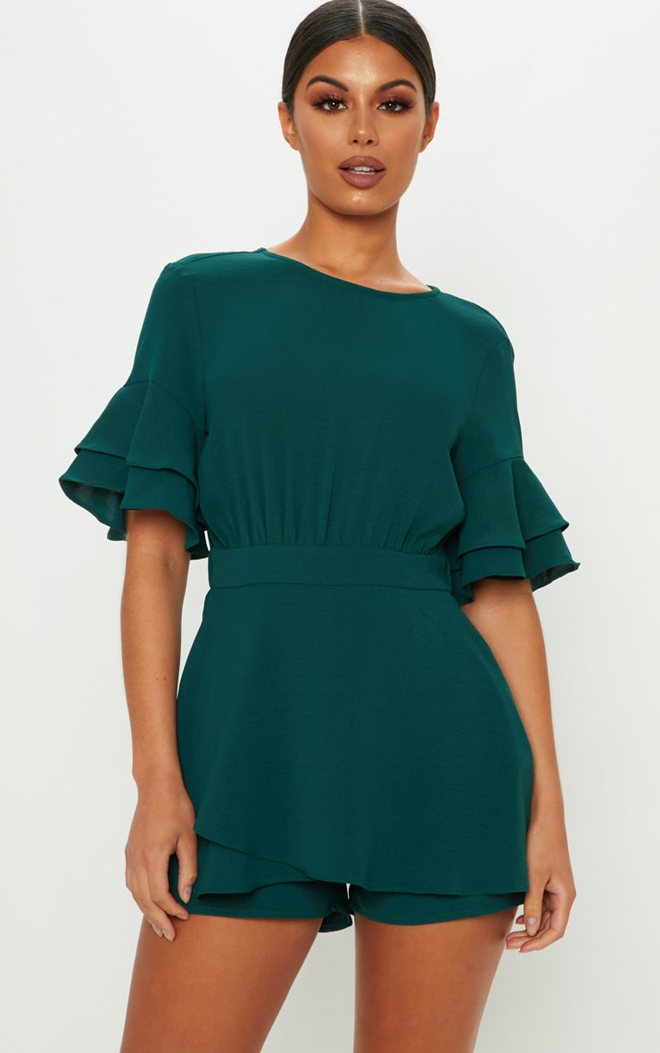 Emerald Green Frill Sleeve Tie Back Playsuit