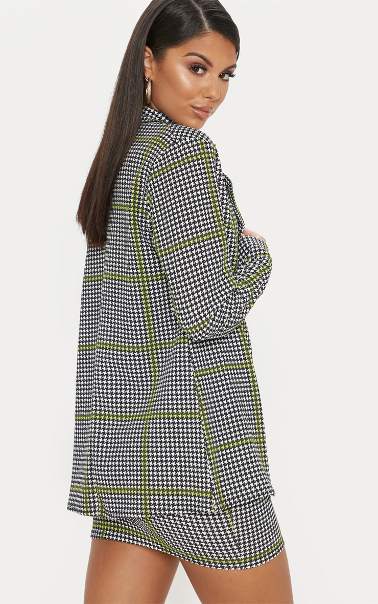 Black Dogtooth Oversized Blazer  2