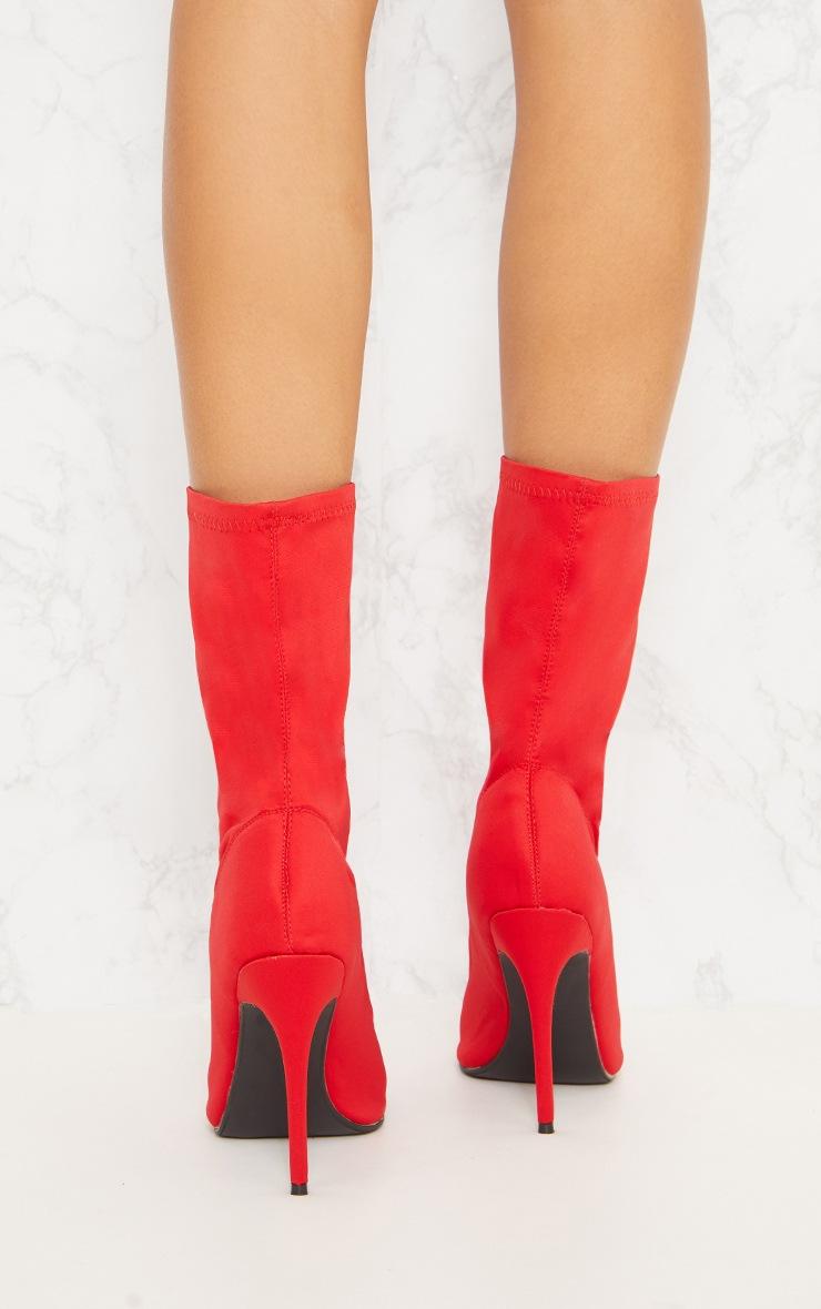 Red Lycra Peeptoe Sock Boot 5