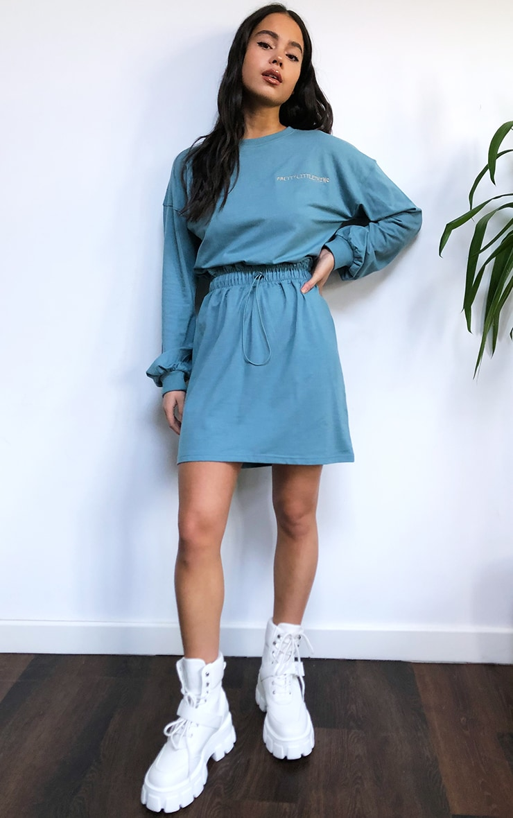 PRETTYLITTLETHING Slogan Washed Teal Toggle Waist T-Shirt Dress 3