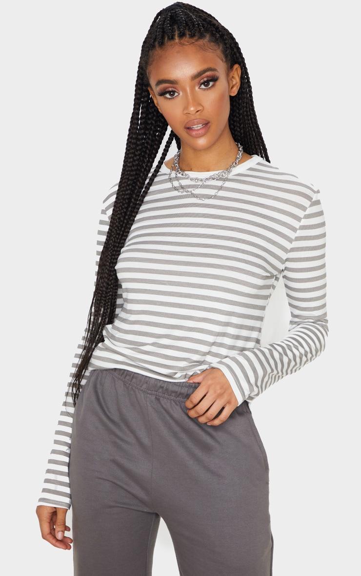 Grey Stripe Jersey Long Sleeve T Shirt 1
