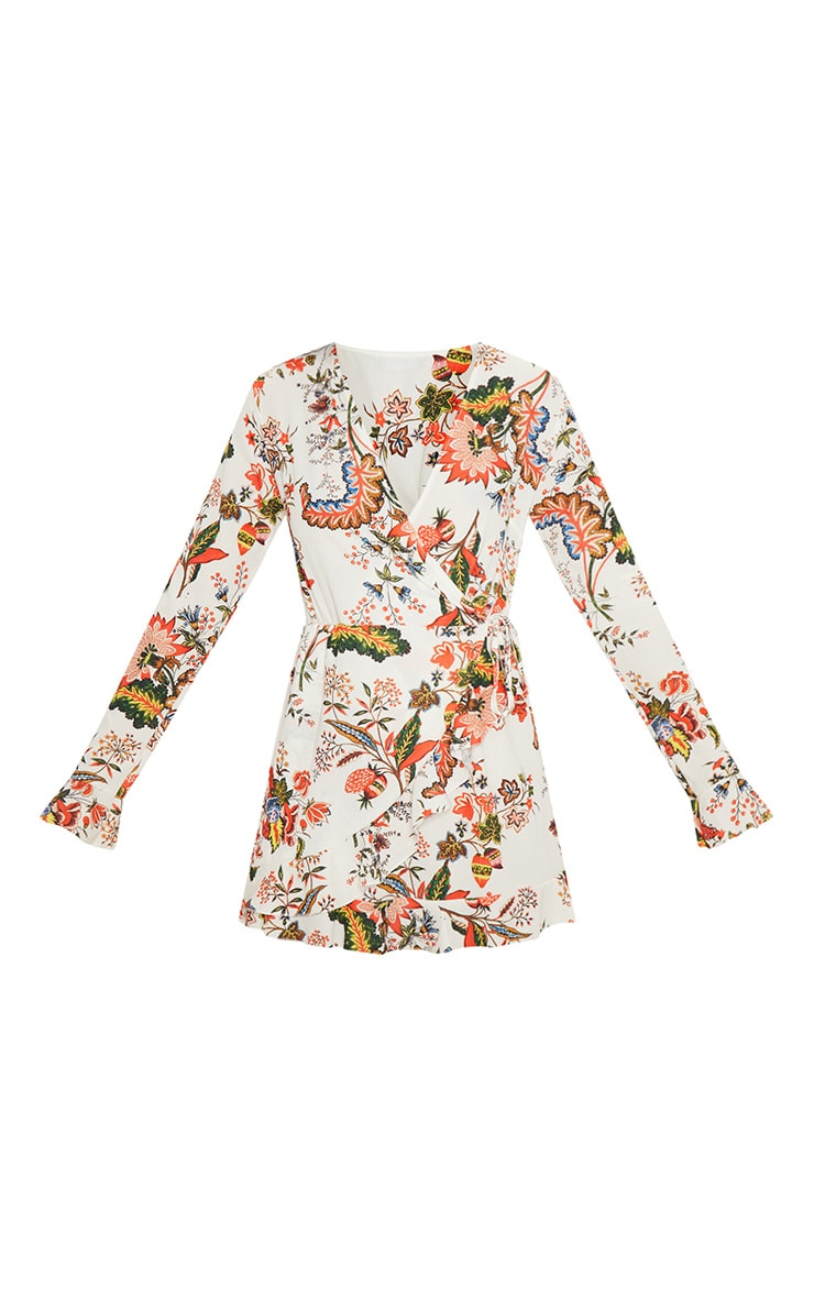 White Floral Wrap Over Dress 3