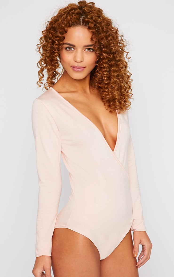 Freida Nude Wrap Over Plunge Bodysuit 1
