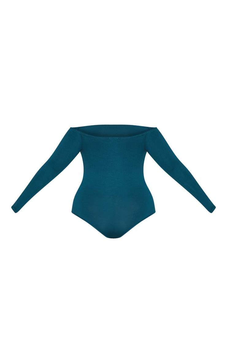 Plus Emerald Green Basic Bardot Bodysuit 4