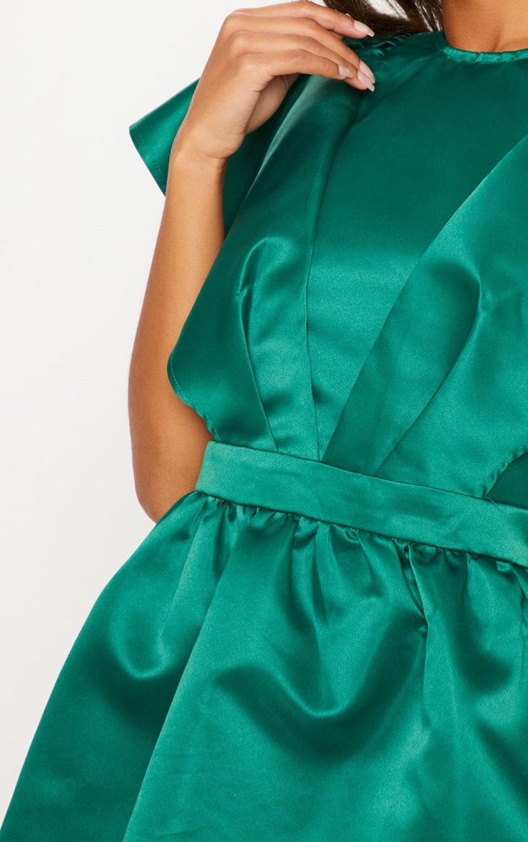 Emerald Green Satin Ruffle Sleeve Skater Dress 5