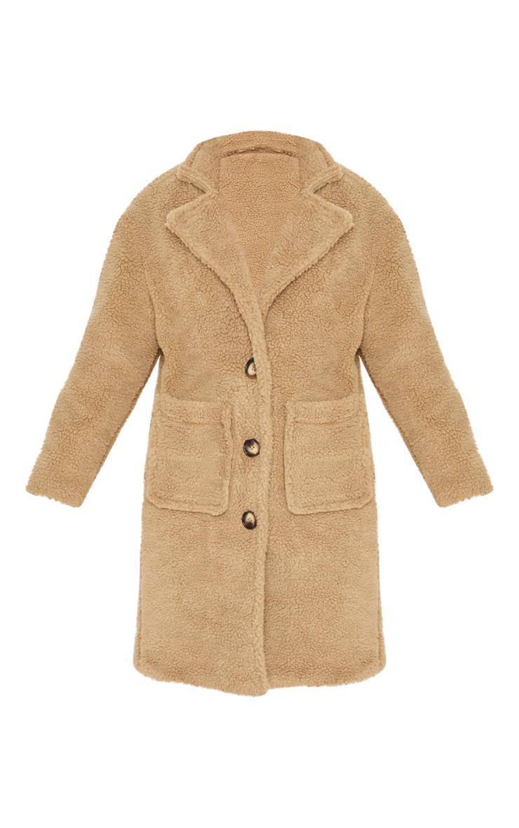 Manteau long camel en imitation peau de mouton 3