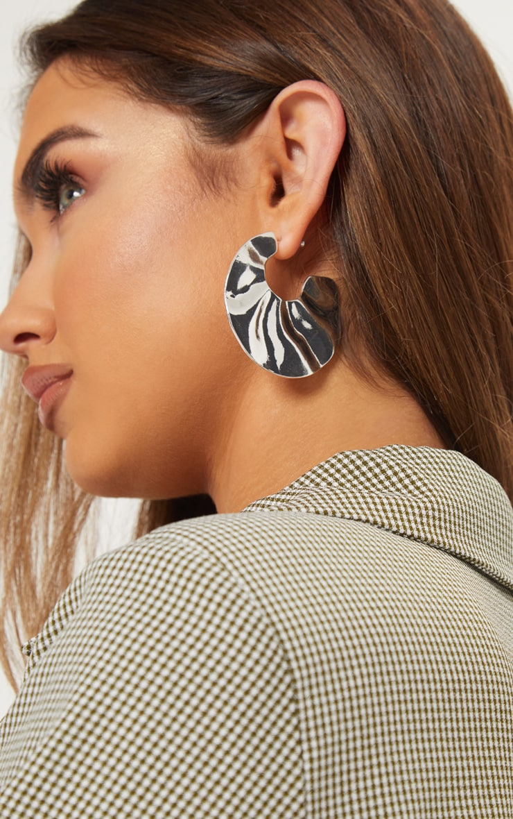 Silver Wavy Textured Irregular Shape Drop Earrings 1