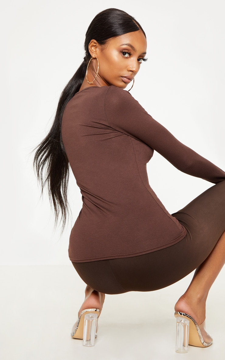 Basic Chocolate Fitted Long Sleeve T Shirt 2