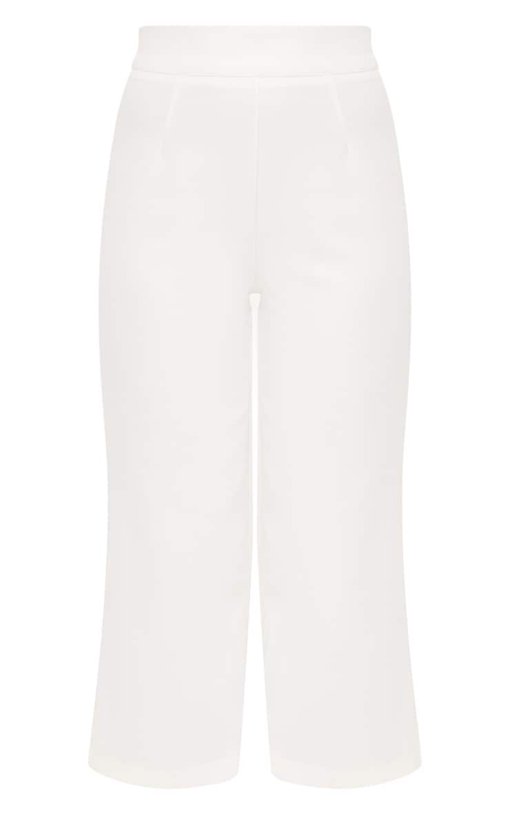 White High Waisted Scuba Culottes  3