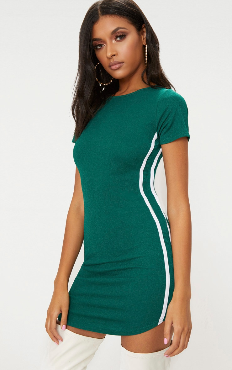 Emerald Green Cap Sleeve Curve Hem Sports Stripe Bodycon Dress  1