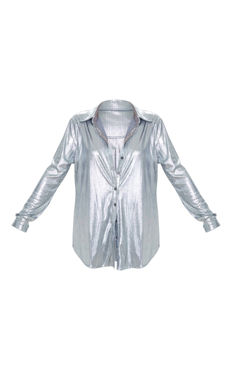 Silver Metallic Button Front Shirt 3