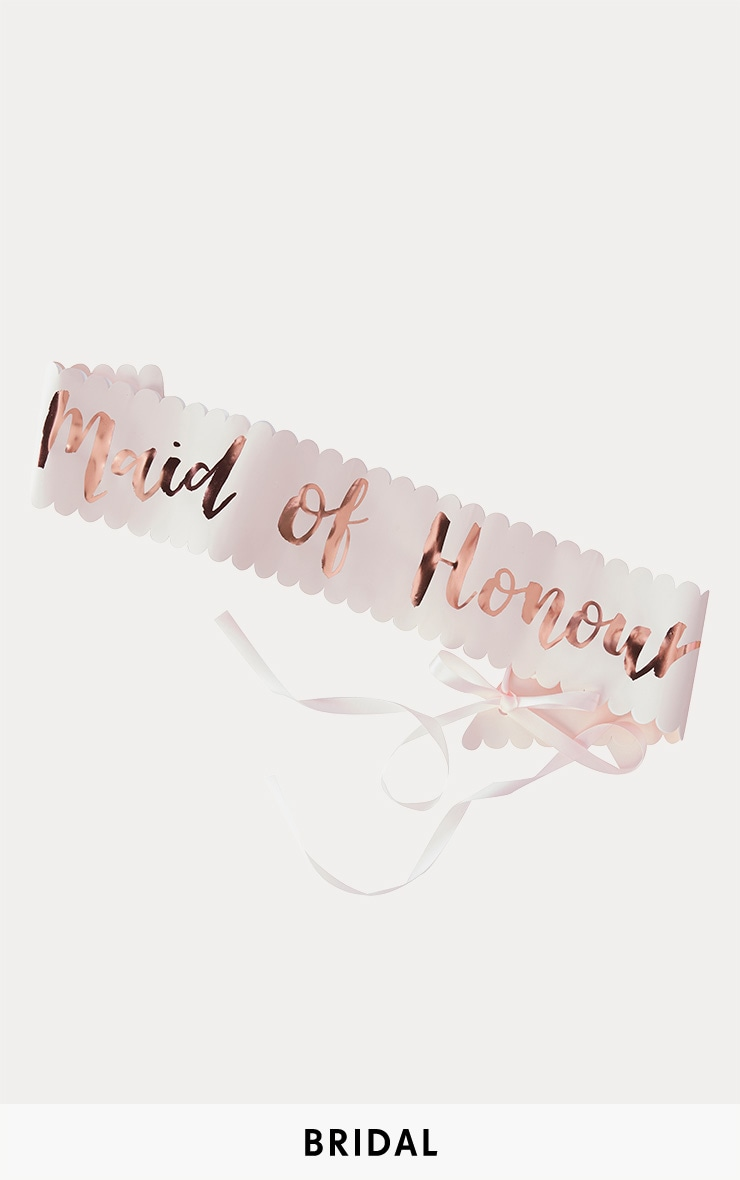 Echarpe rose gold à slogan Maid Of Honour 1