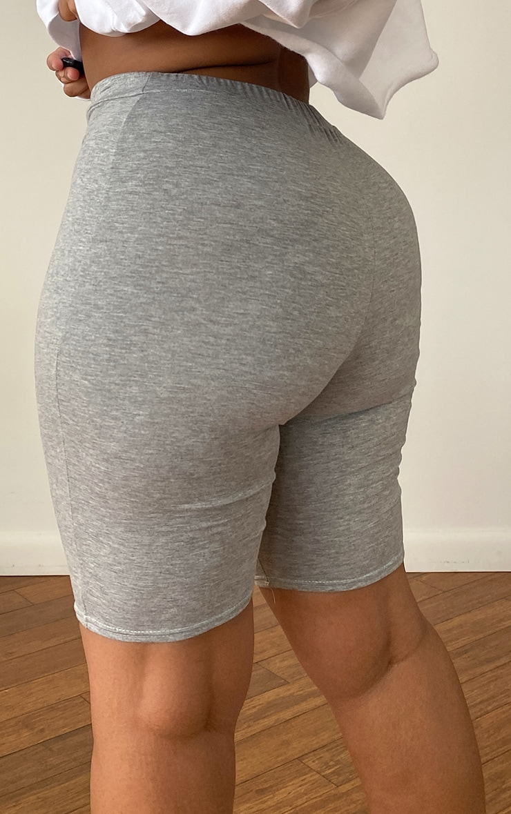 PRETTYLITTLETHING Plus Grey Logo Cycling Shorts 3