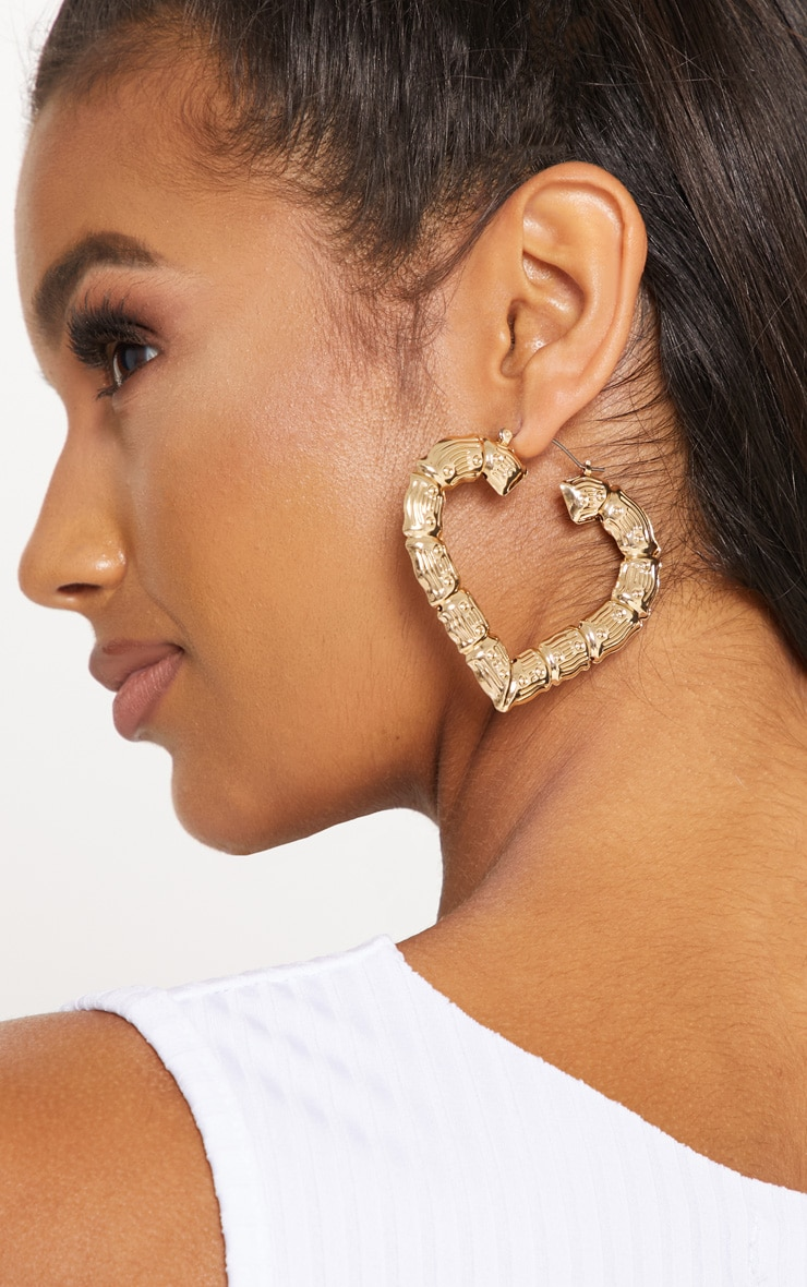 Gold Large Heart Creole Earrings 2
