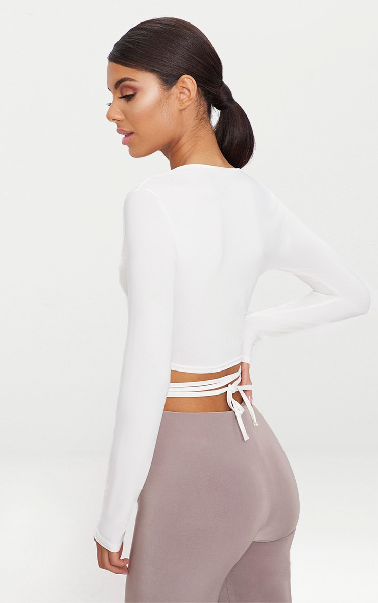 White  Slinky Long Sleeve Tie Waist Crop Top  2