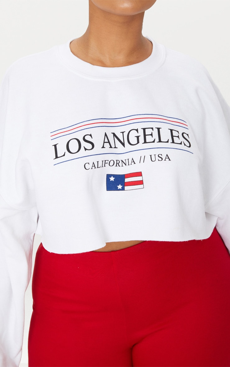 Plus White Los Angeles Extreme Cropped Sweater 5