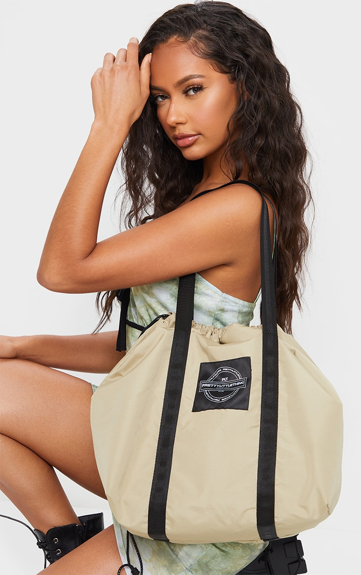 PRETTYLITTLETHING Sand Utility Tote Bag 1