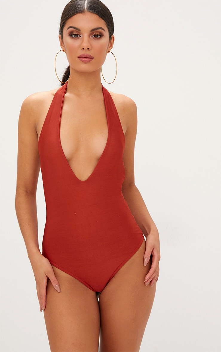 Burnt Orange Slinky Plunge Halterneck Thong Bodysuit  1