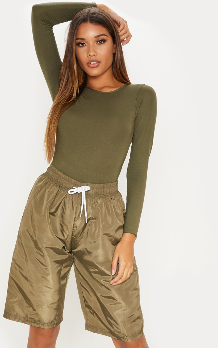 Basic Khaki Crew Neck Long Sleeve Bodysuit 5