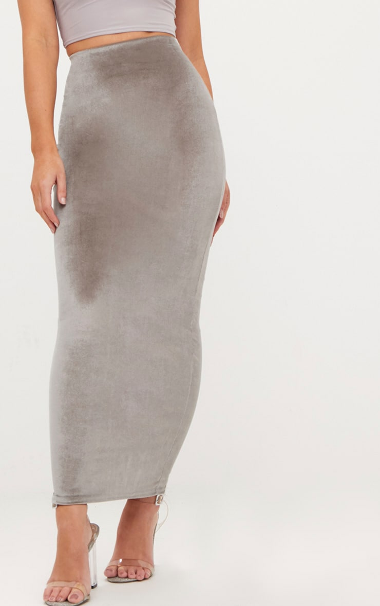 Grey Velvet Midaxi Skirt  5