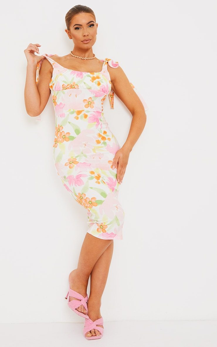 Multi Floral Print Ruched Bust Tie Strap Midi Dress 1