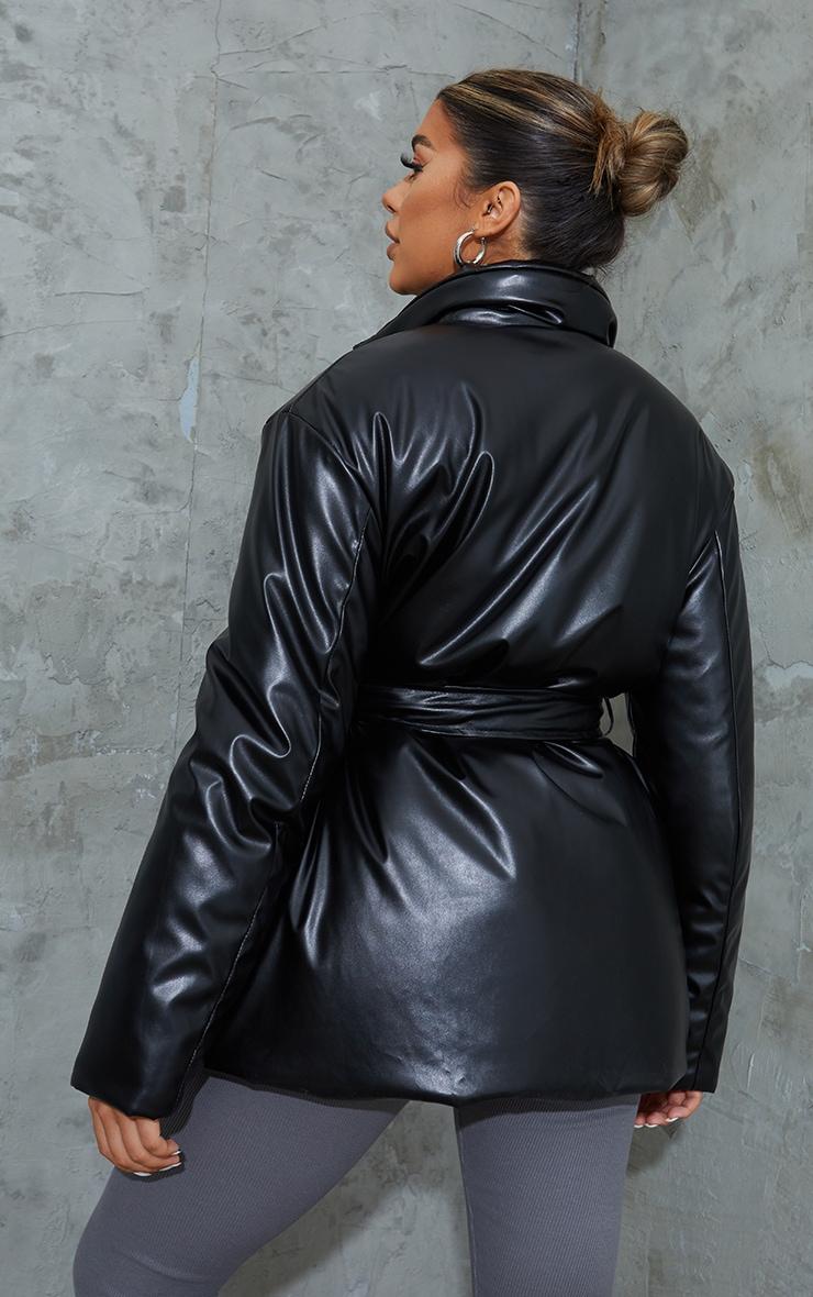 Black PU Belted Padded Blazer Style Puffer Coat 2