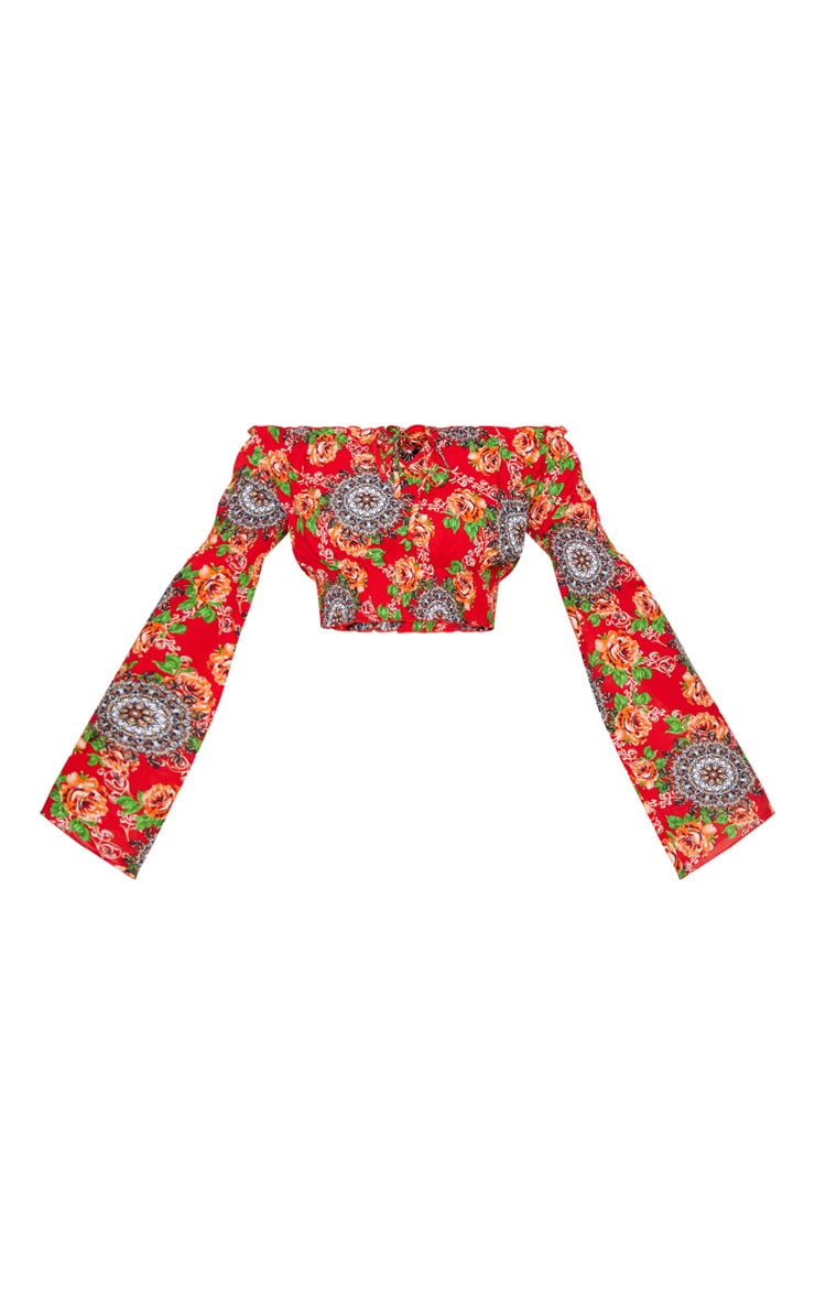 Petite Red Floral Flared Sleeve Bardot Crop Top 3