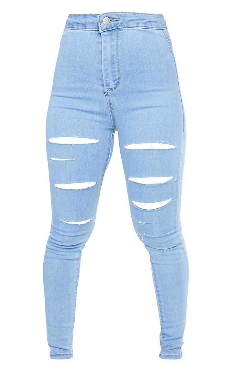 PRETTYLITTLETHING Petite Light Blue Wash Rip Distressed Disco Skinny Jean 5