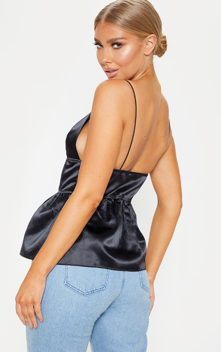 Black Satin Waist Detail Cami Top 2