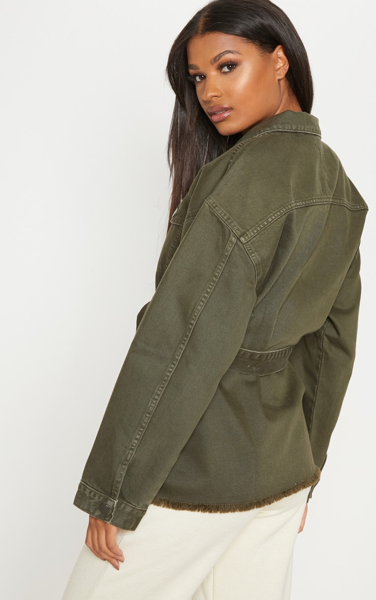 Khaki Tie Waist Oversized Denim Jacket  2