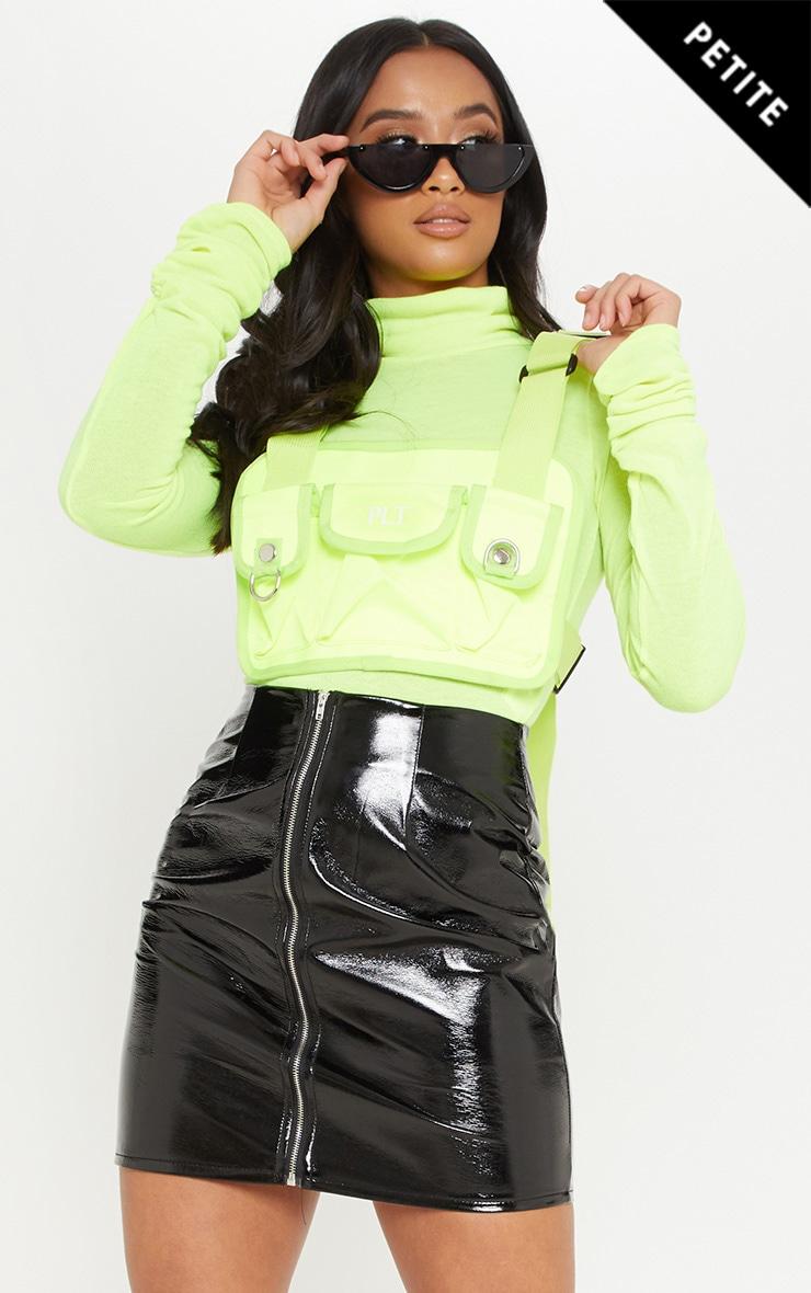 Petite Black PU Zip Detail Mini Skirt