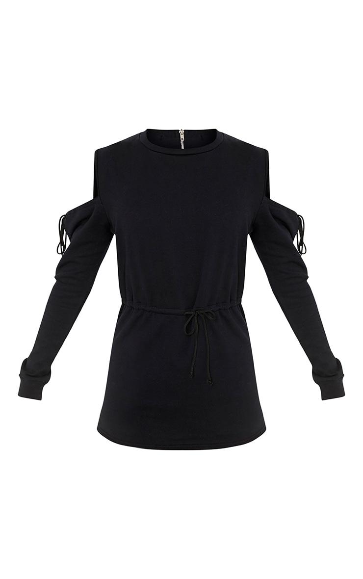 Poppie Black Sweater Cold Shoulder Skirt Playsuit 3