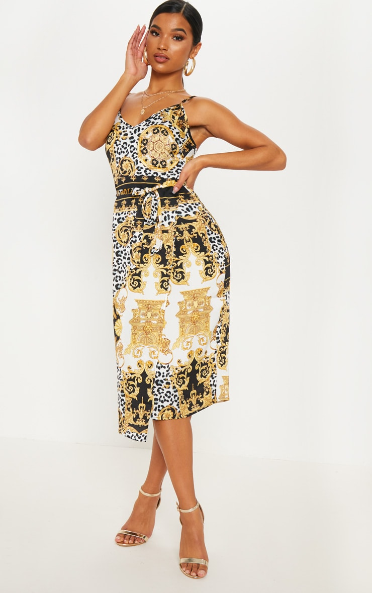 Black Chain Print Wrap Slip Dress 1